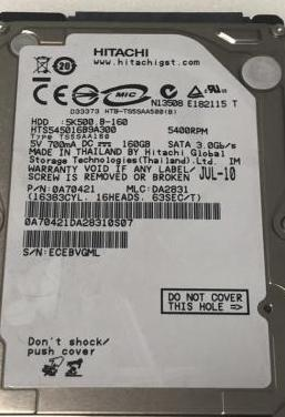 "Hdd 2,5"" sata 160gb hitachi"