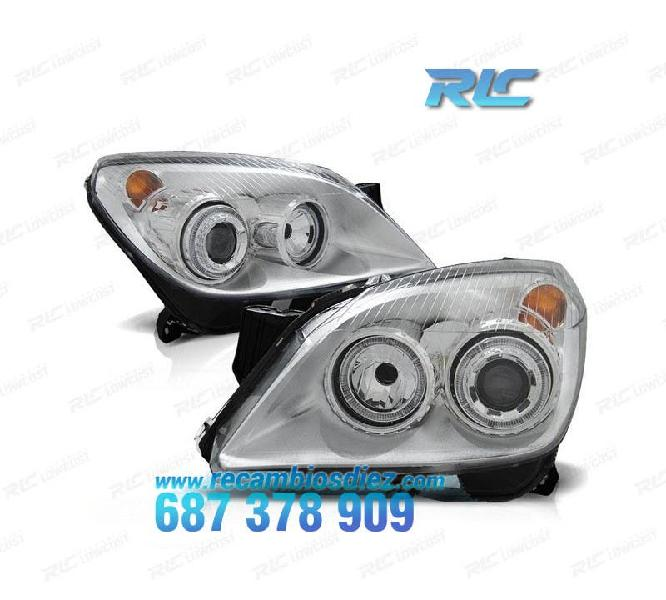 Faros opel astra h angel eyes cromo