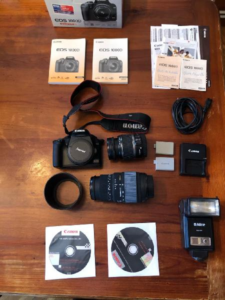 Canon eos 1000d + 18-55mm + 70-300mm + flash