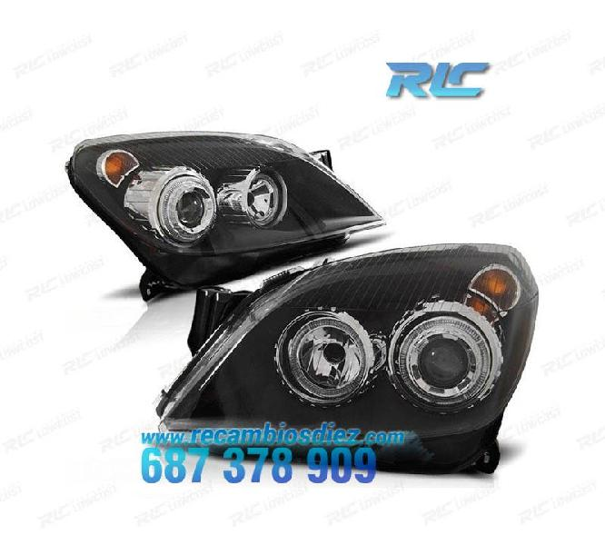 Faros opel astra h angel eyes negro