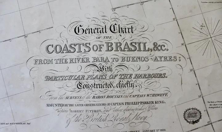Carta naval,general chart of the coasts of brasil, from the