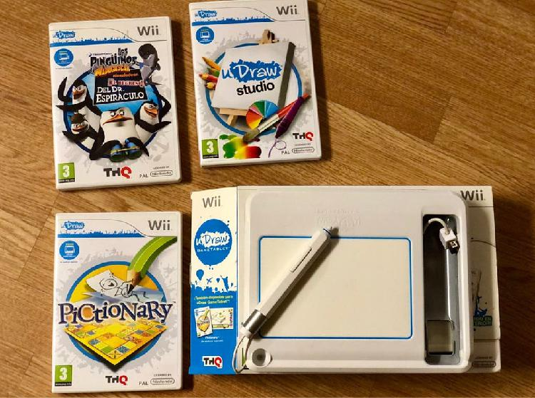 Wii udraw game tablet+ 3 juegos