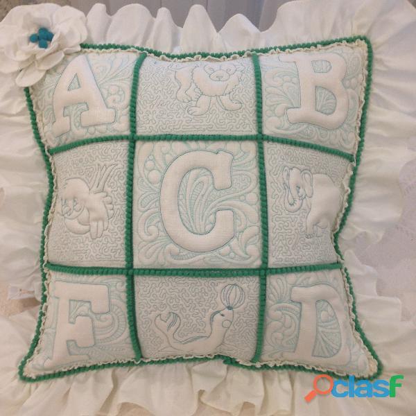 """abc"" funda de almohada con motivo infantil"