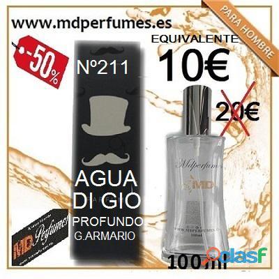 Perfume equivalente hombre nº 211 agua di gio profundo g.armario