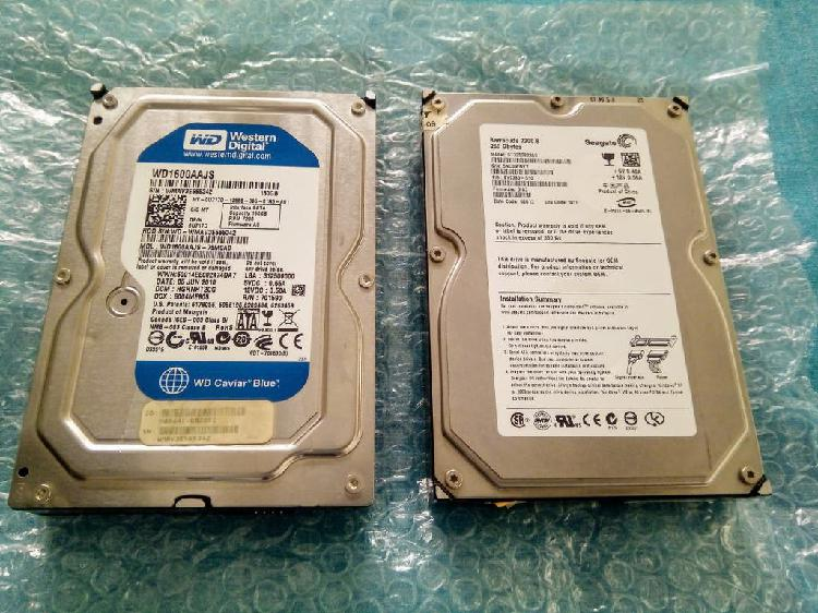 Disco duro seagate 250gb y western digital 160gb