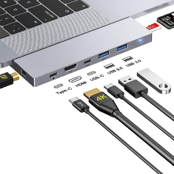 Hub usb c, 8 in 1 dock con mini dp, hdmi 4k, 2 usb