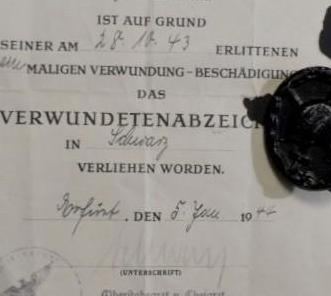 Alemania, concesion y placa de herido en negro