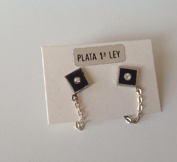 Pendientes de plata. años 60. esmalte negro.