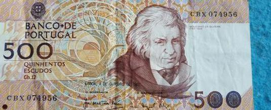 Portugal, billete 500 escudos 1989