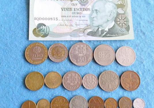 Portugal, lote de monedas con billete