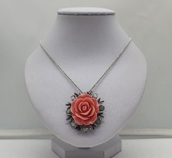 Precioso broche colgante antiguo en plata de ley con rosa en