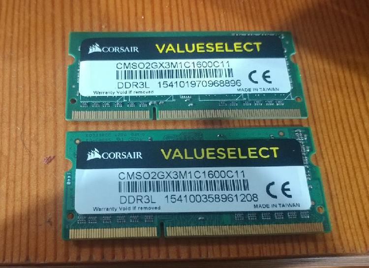 2x2 4gb memoria ram ddr3l 1600mhz so-dimm portatil