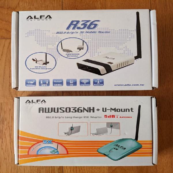Antena alfa awus036nh + router alfa r36