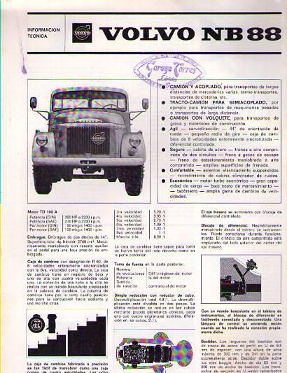 Catalogo camión volvo nb 88 información técnica