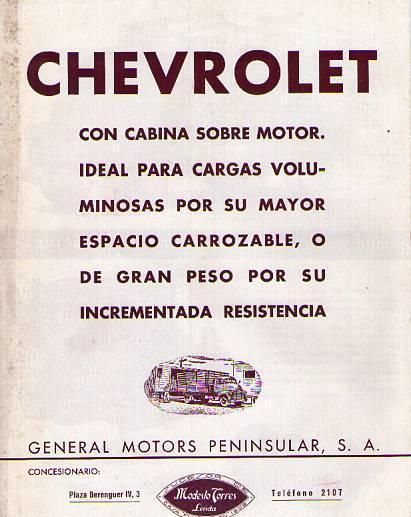 Catálogo camiones-chevrolet modelo 5703. información