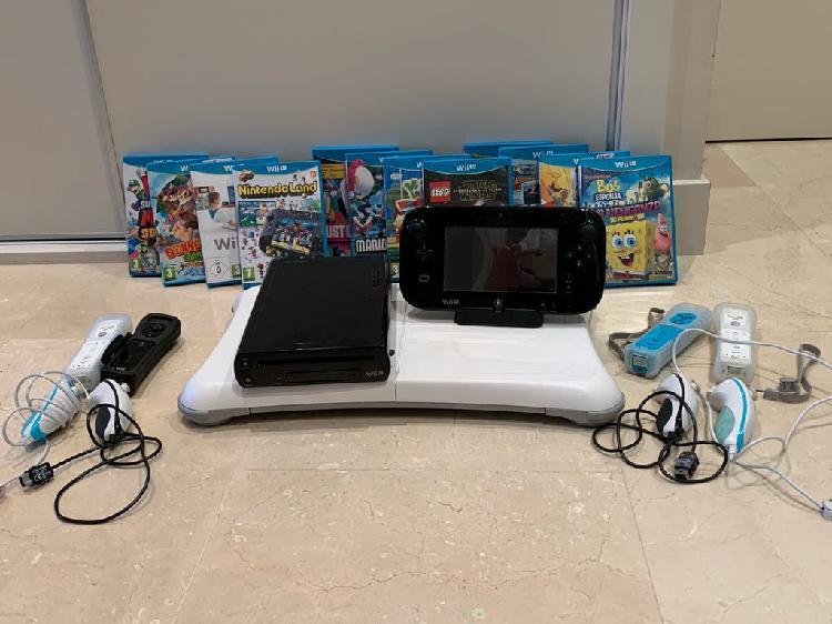 Consola wii u con 4 mandos + 12 juegos + wii fit