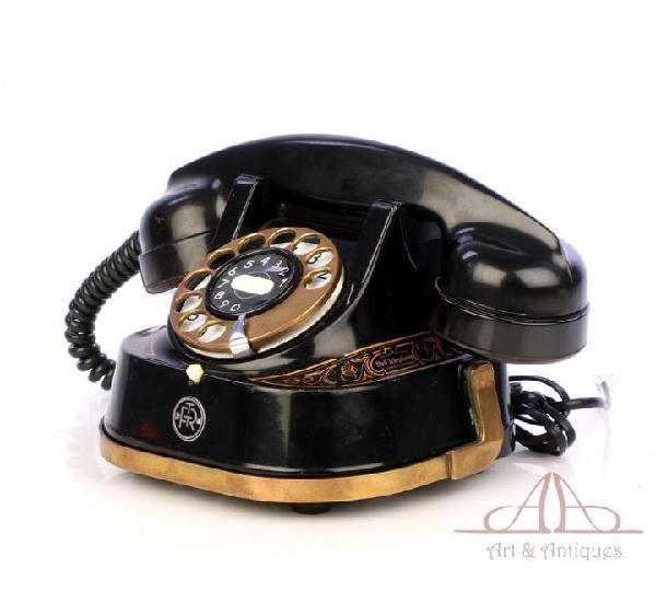 Antiguo teléfono belga de metal bell. funciona. bélgica,