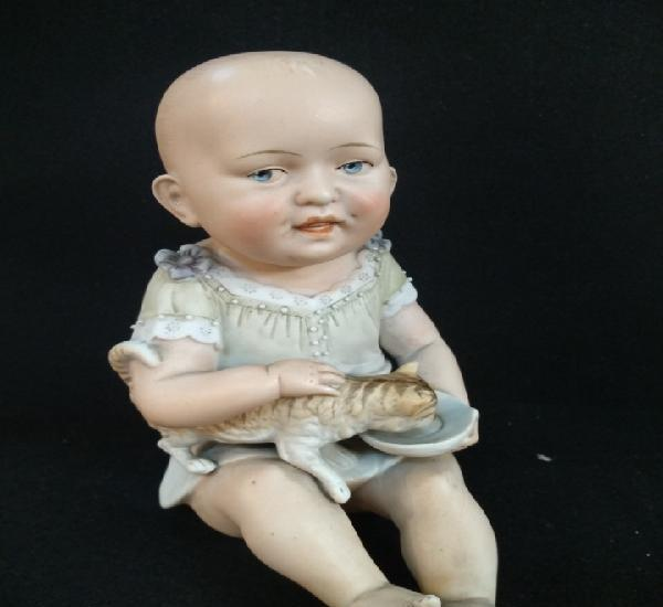 Bebé de piano, porcelana biscuit, gebruder heubach. s.xix