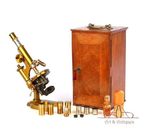 Fantástico microscopio antiguo de latón e. leitz wetzlar.