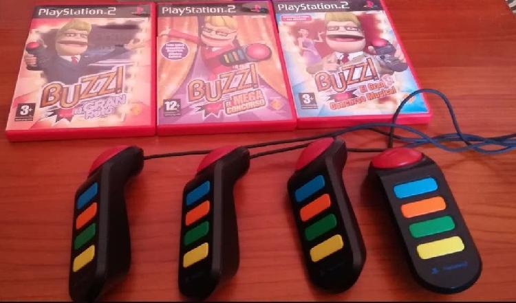 Mandos buzz playstation 2 y tres juegos