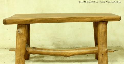 Mesa rústica de teca maciza