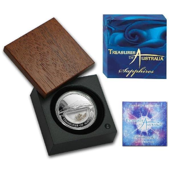 Moneda plata treasures of australia, zafiros $1