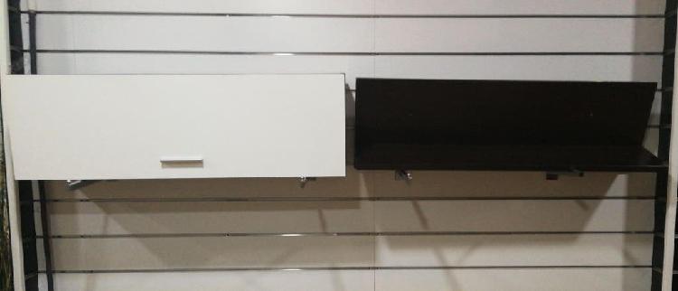 Mueble salón modular + estantería color wengue