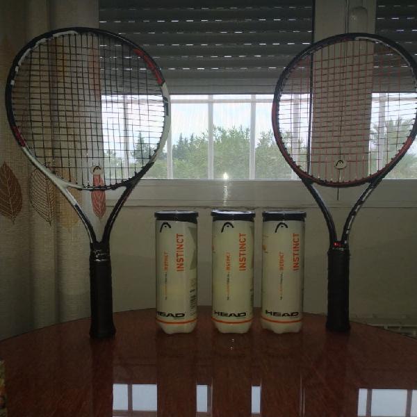 Pack 2 raquetas de tenis head y 3 paquetes de bola
