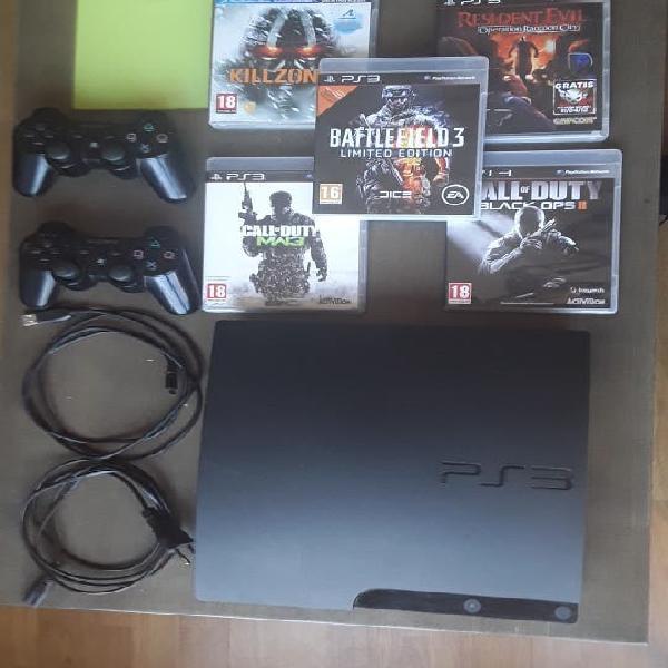 Playstation3 slim 120gb + 2 mandos + 5 juegos