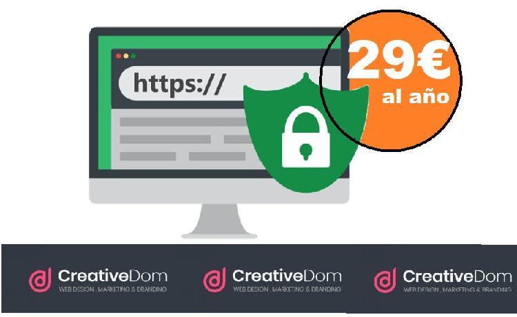 Proteje su web con ssl por 29/año