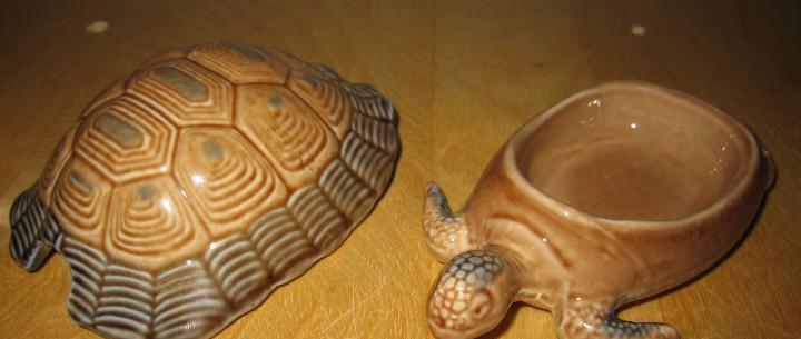 Tortuga porcelana vidriada inglesa joyero caja vintage 14 x