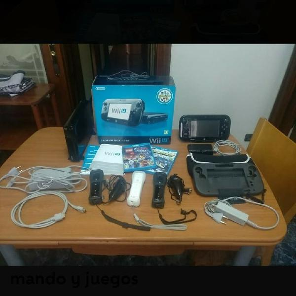 Wii u premium pack 32g + mandos + 3 juegos