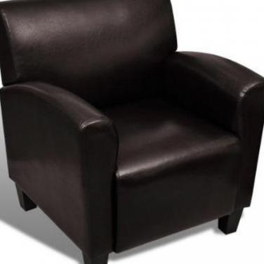 240979 sillón sofá de cuero artificial marrón ...