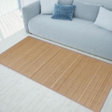 241340 alfombra rectangular de bambú marrón 1...