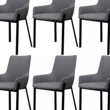 273749 sillas de comedor 6 uds. tela gris claro