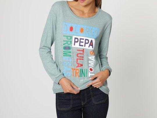 Camiseta manga larga gris verdoso nombres multicolores talla