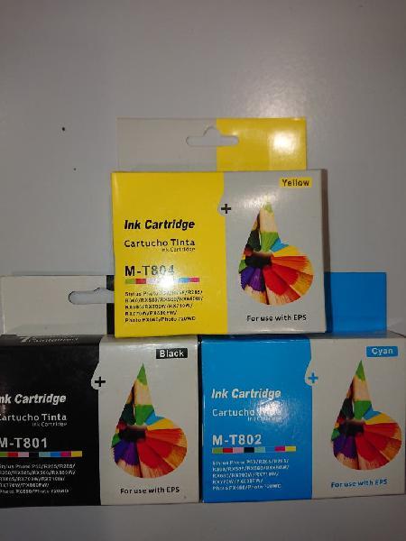 Cartuchos tinta x3 compatible epson t801 t802 t804