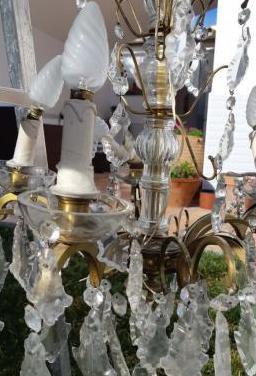 Lámpara lágrimas de cristal y bronce