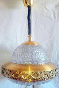Lampara antigua bronce y cristal tallado