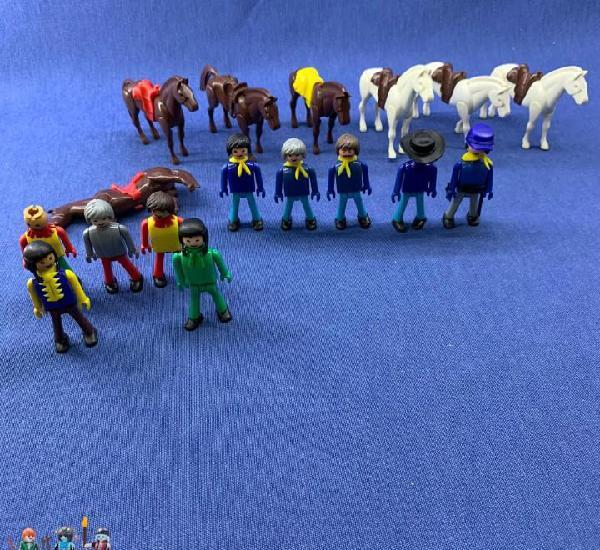 Coman boys - lote de 10 figuras mini coman boys + 6 caballos