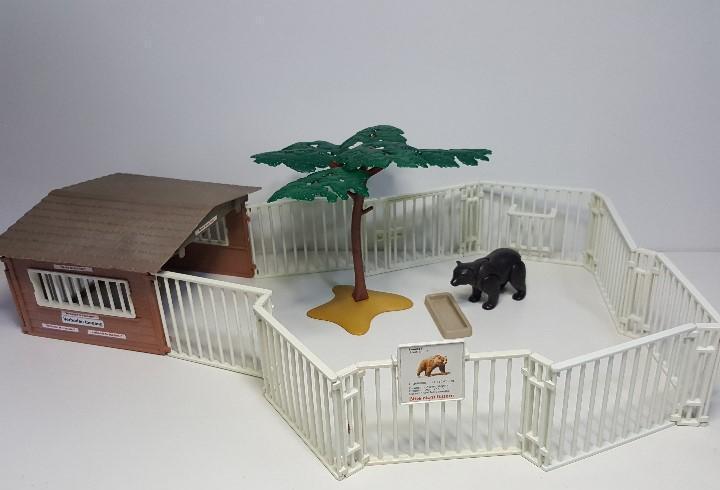 Caseta oso pardo playmobil 3435 refugio jaula rejas vallado