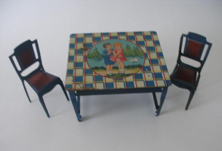 Conjunto mesa y sillas comedor en hojalata payá años 20 -