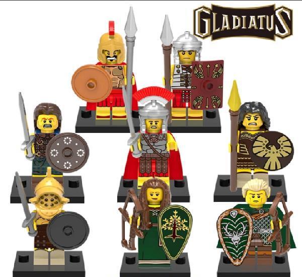 Lote minifiguras compatibles con lego gladiadores 8 unidades