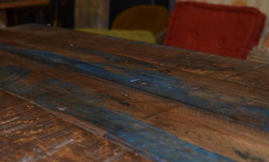 Mesa artesanal pallet azul