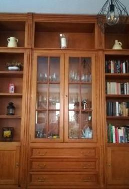 Mueble-libreria de salón y mesa -sillas.