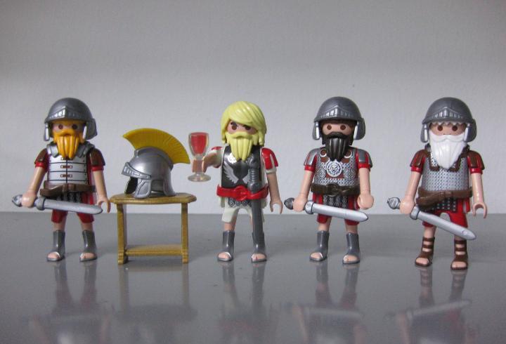 Playmobil lote 4 romanos, alto mando centuria con oficiales
