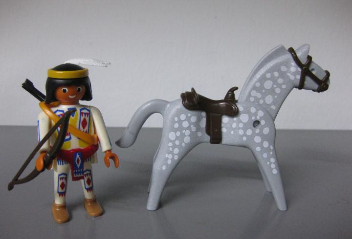 Playmobil indio con caballo completo oeste con arco y