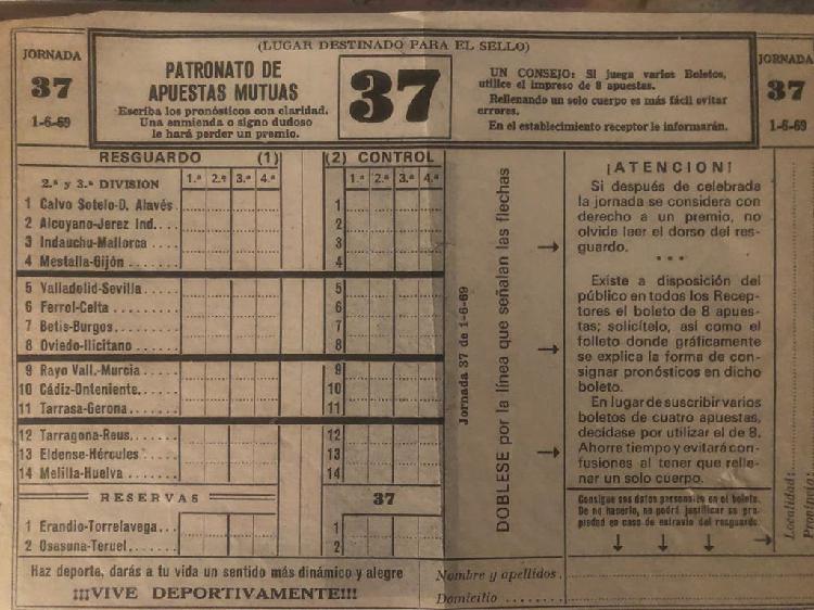 Boleto quiniela 1969 segunda y tercera