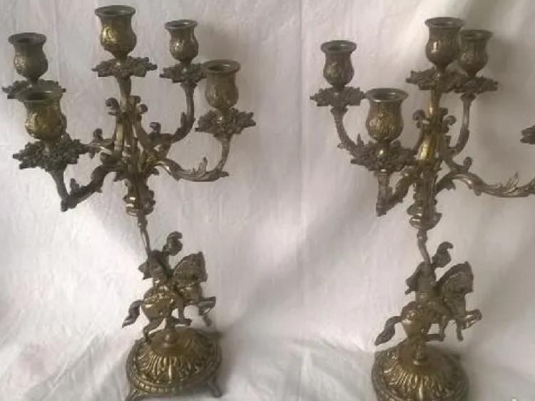 Candelabros antiguos de bronce 5 brazos-velas