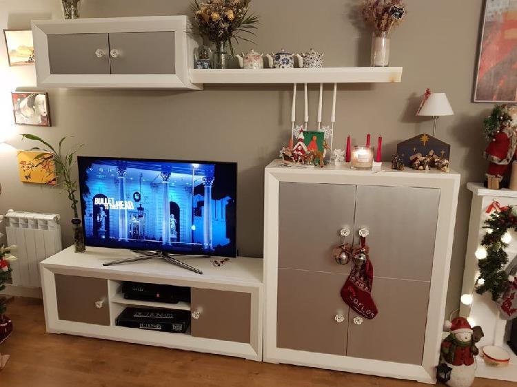 Conjunto mueble salón blanco y plata
